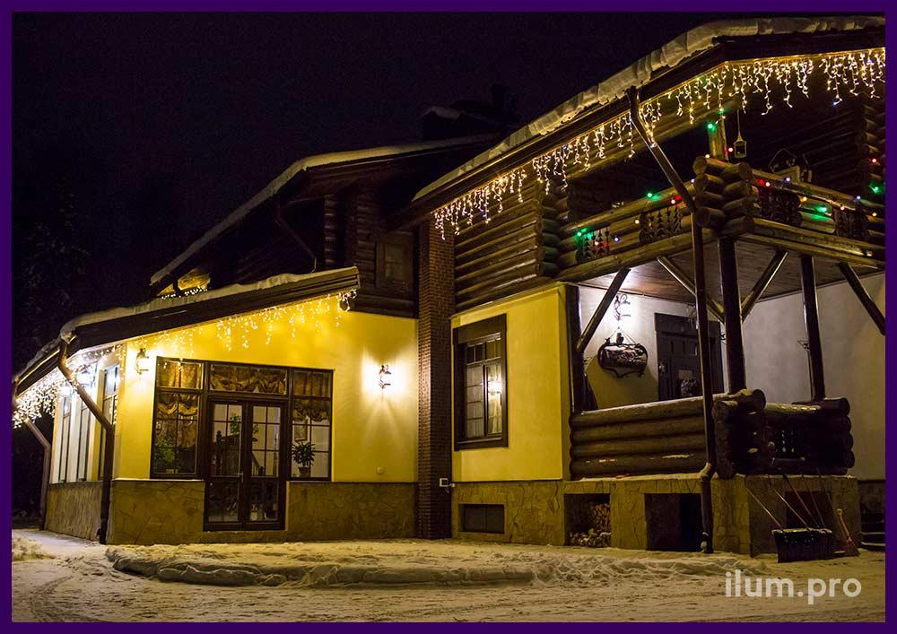Светодиодные гирлянды для крыши частного дома в Ивановской области