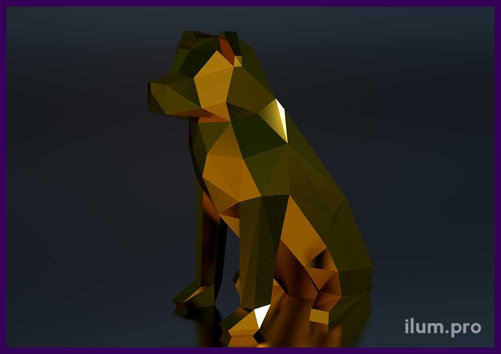 Полигональная фигура с зеркальным покрытием