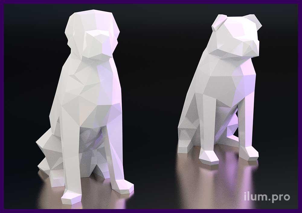 Низкополигональные фигуры животных белого цвета для фотозоны