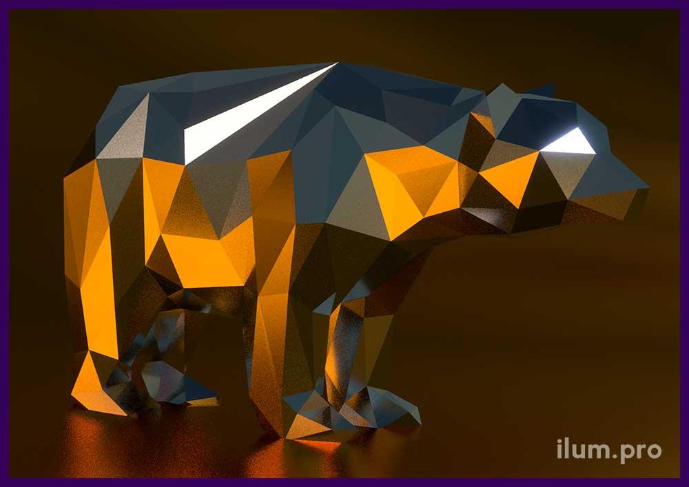 Полигональная фигура медведя из металла