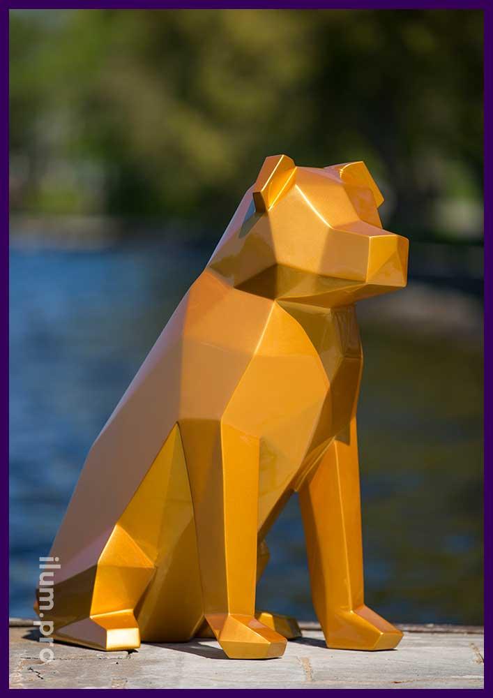 Полигональная фигура собаки из металла для loft