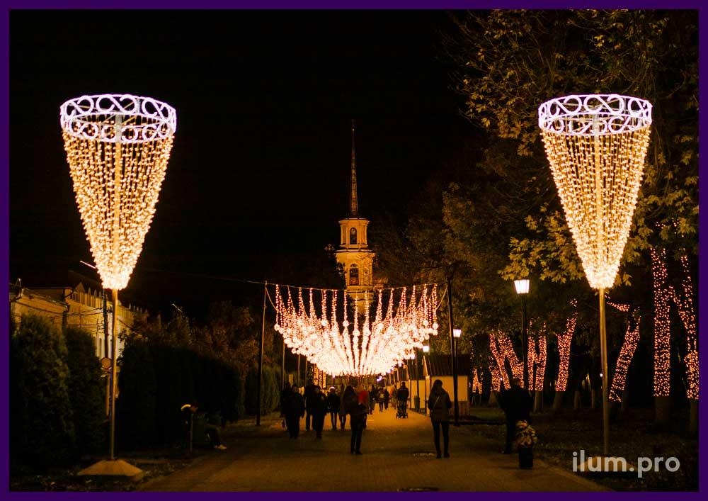 Светодиодные украшения для подсветки улицы на праздники
