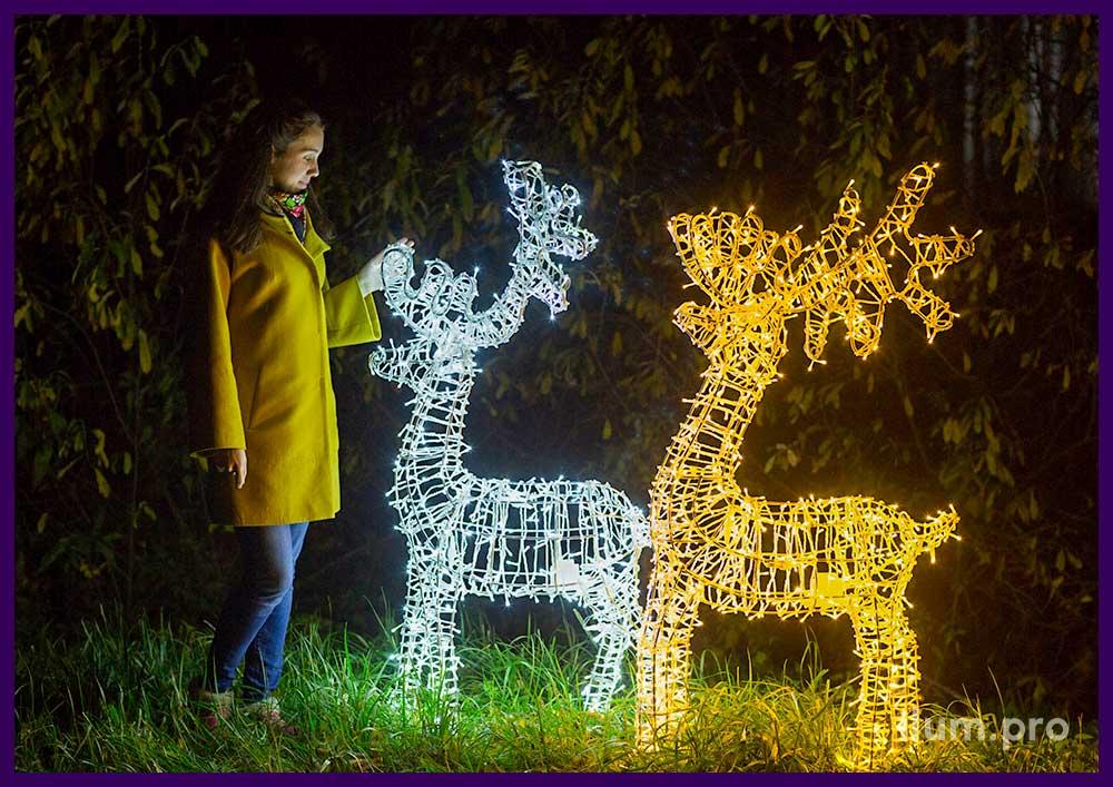 Фотозона с фигурами оленей с подсветкой для участка