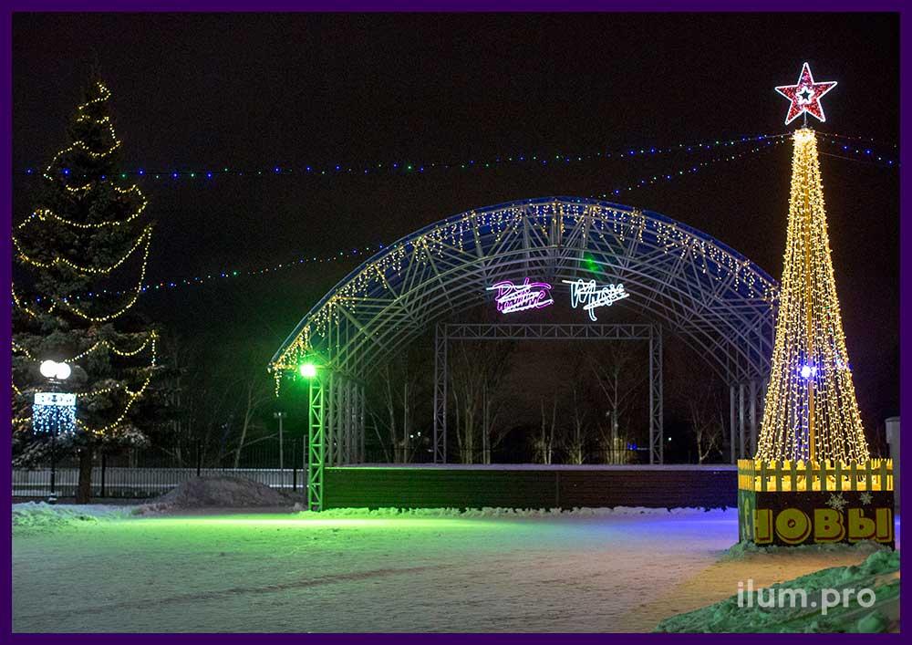 Новогодние городские украшения из светодиодных гирлянд