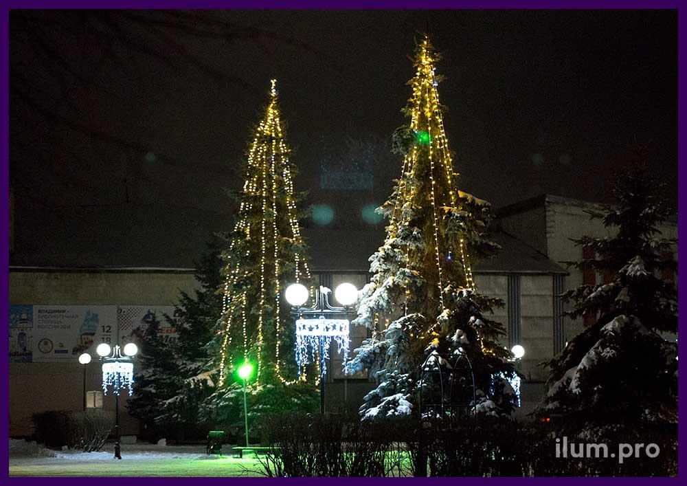 Новогоднее украшение площади и деревьев светодиодной иллюминацией