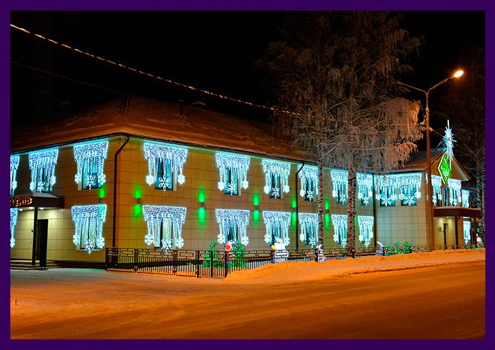 Новогоднее украшение офиса компании светодиодными консолями