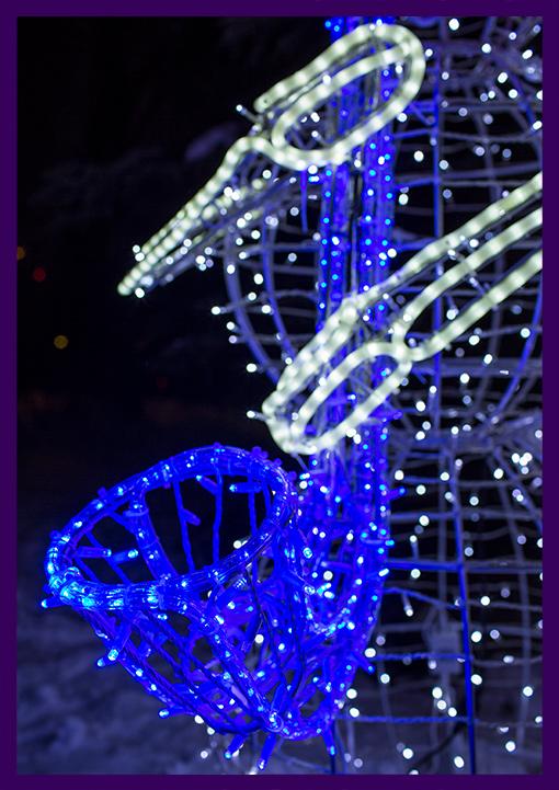 Синий светодиодный дюралайт на алюминиевом каркасе