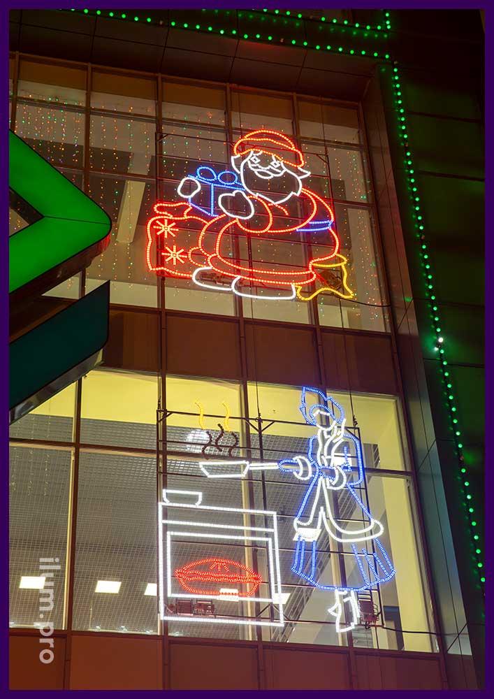 Светодиодные фигуры Деда Мороза и Снегурочки для фасада ТЦ