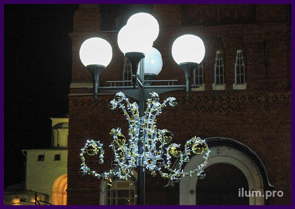 Украшение столбов на Новый год светодиодные консоли
