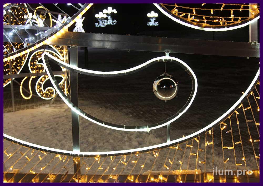 Уличный арт-объект на Новый год с подсветкой