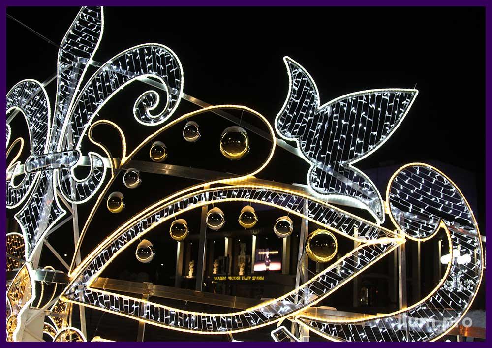 Уличные украшения на Новый год со светодиодами