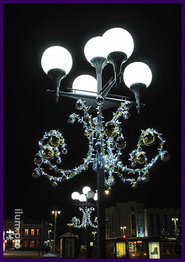 Подсветка столбов консолями на Новый год