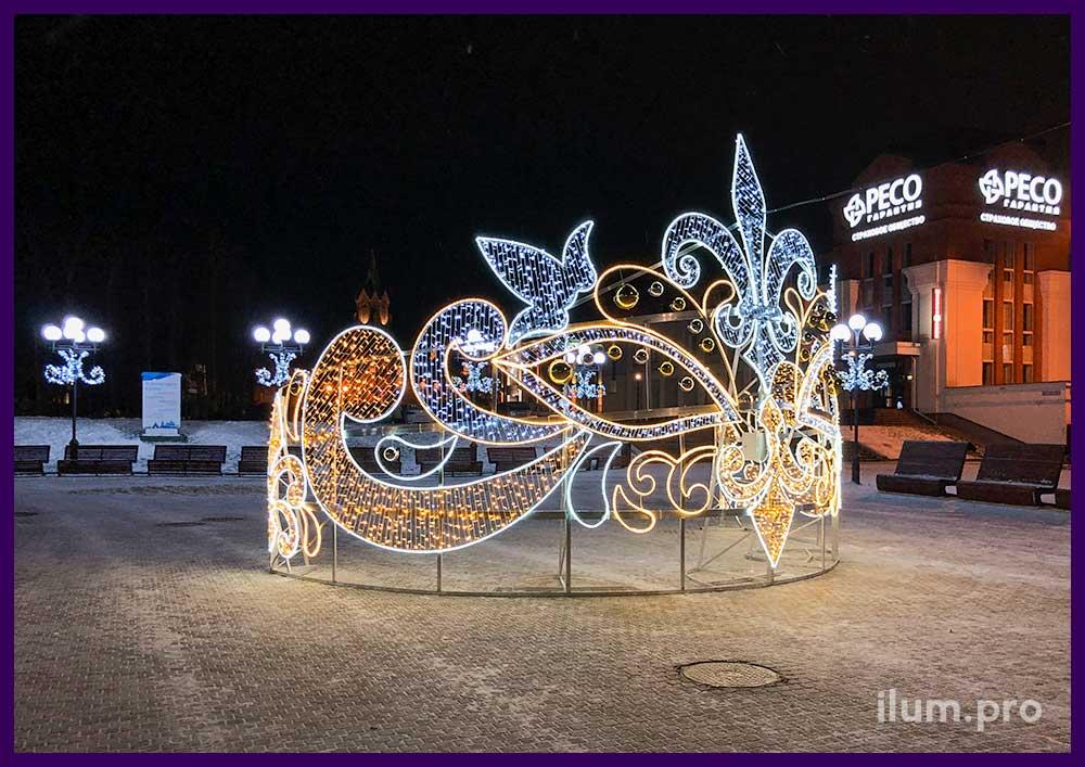 Украшение площади во Владимире к Новому году