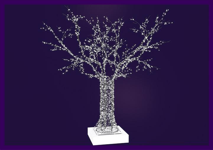 Проект новогодней фигуры дерева с гирляндами