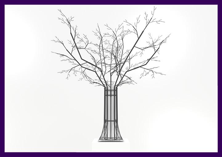 Уличная фигура дерева с подсветкой гирляндами