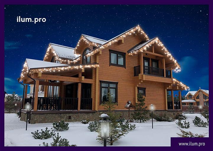 Новогодний проект подсветки крыши дома гирляндами