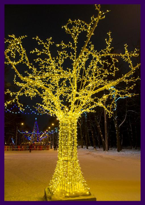 Деревья металлические с подсветкой из гирлянд
