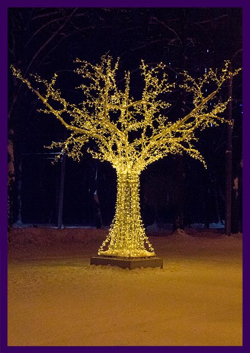 Арт-объект светодиодное дерево тёпло-белого цвета