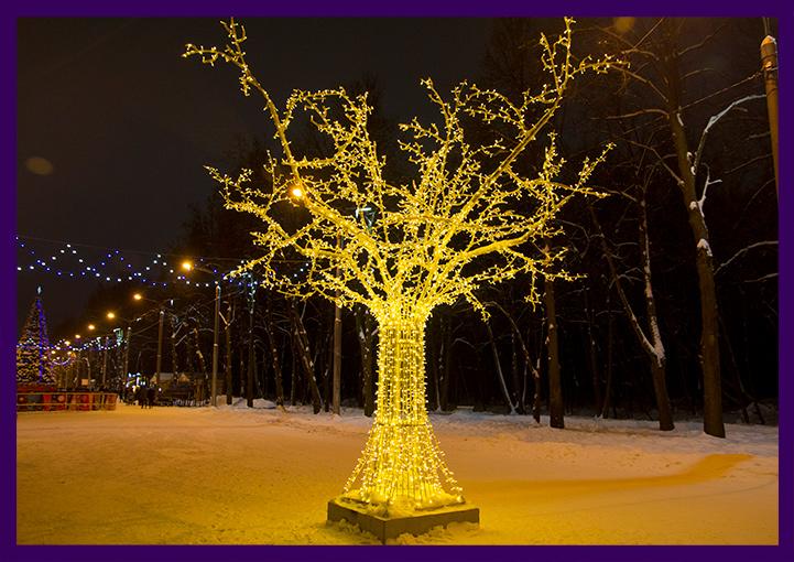 Большое светодиодное дерево жёлтого цвета