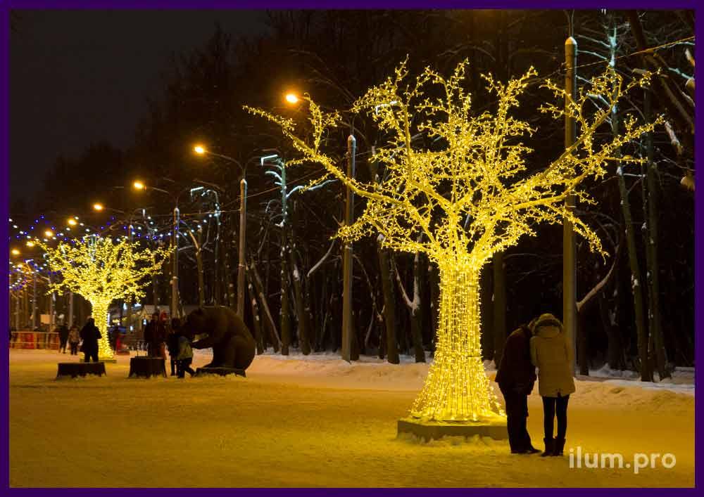Светящиеся деревья с гирляндами в парке