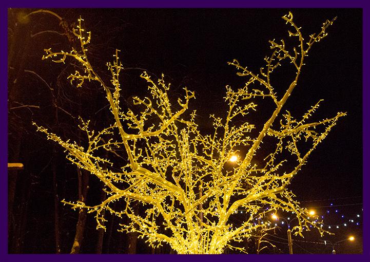 Светодиодное дерево с гирляндами в лесопарке на Новый год