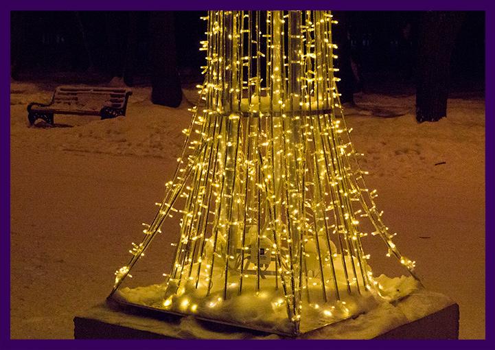Уличное светодиодное украшение для парка - дерево с гирляндами
