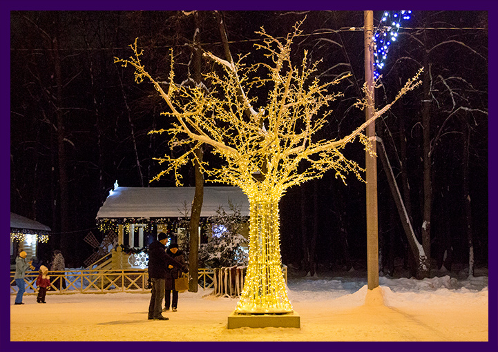 Светодиодная иллюминация для украшения парка на Новый год