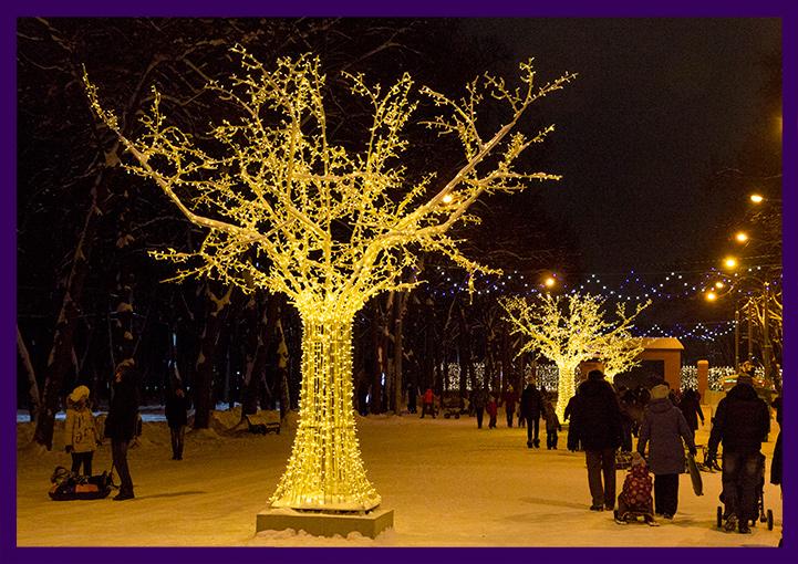 Новогоднее украшение Лесопарка в Рязани световыми деревьями