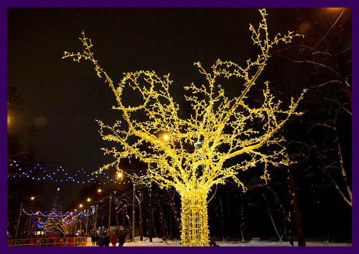 Новогоднее украшение для улицы - дерево с подсветкой