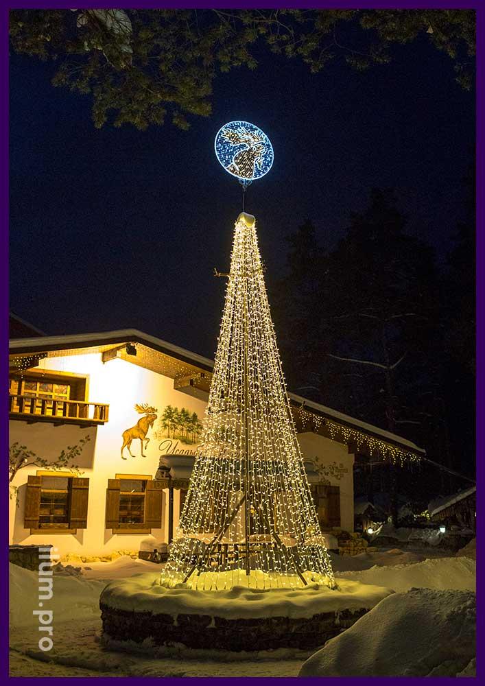 Новогоднее украшение Парк-Отеля во Владимирской области