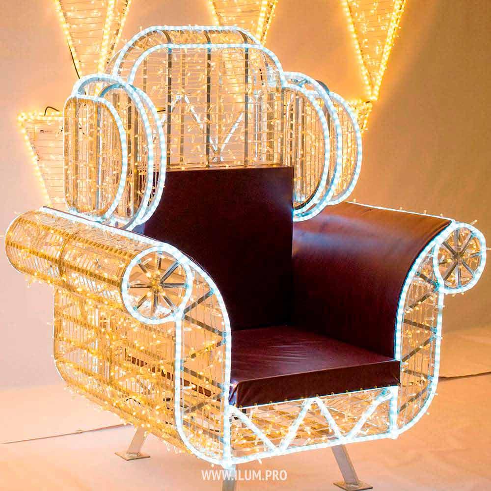 Фотозона кресло из гирлянд