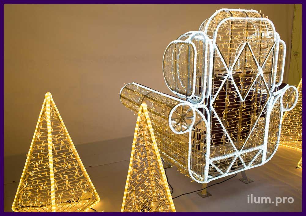 Новогодняя фотозона кресло с подсветкой