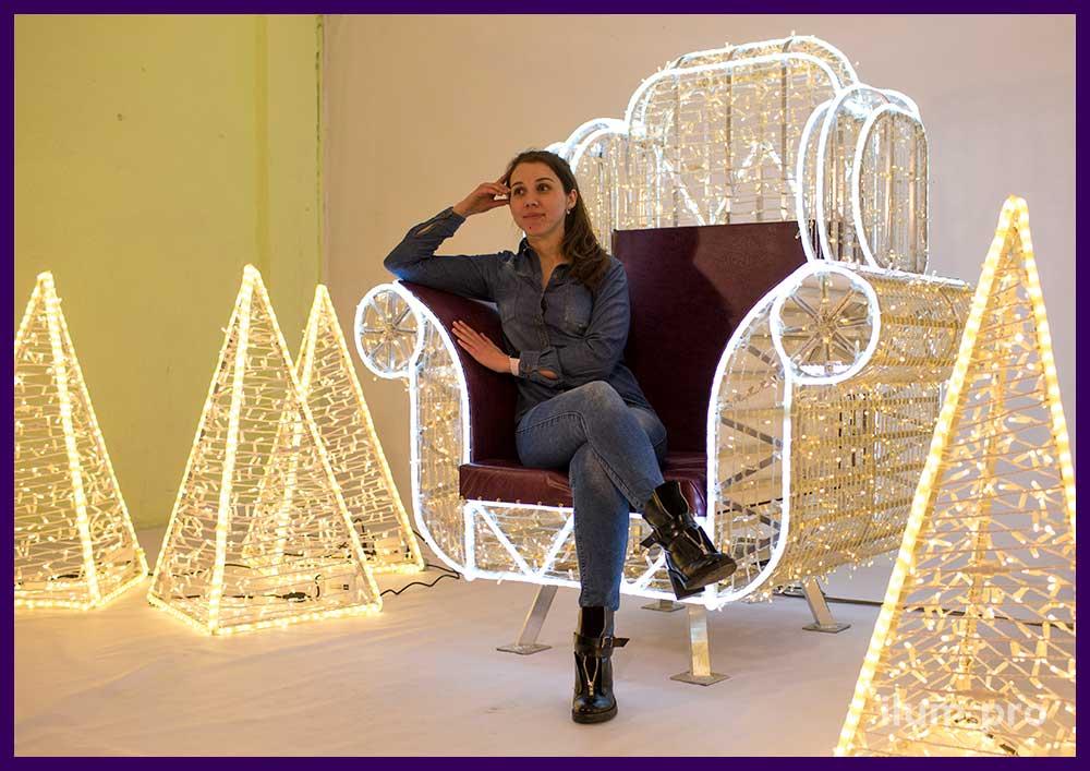Новогодняя фотозона кресло с подсветкой гирляндами