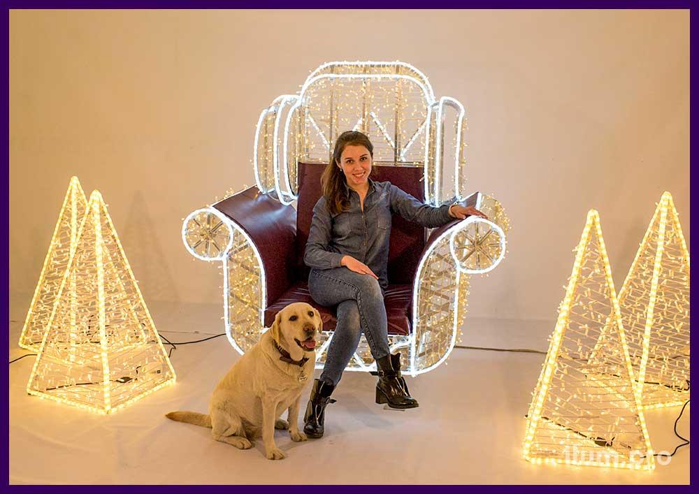 Светящиеся декорации из алюминия и гирлянд для фотосессий