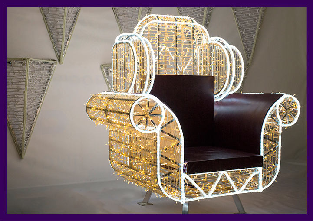 Кресло из светодиодных гирлянд для фотозоны