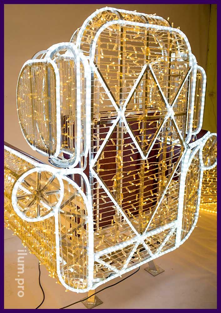 Кресло из гирлянд и светодиодного дюралайта - световая композиция