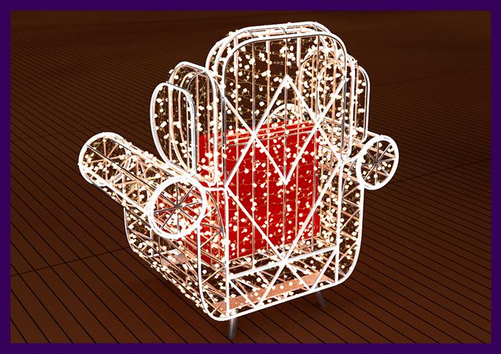 Фотозона с светящимся креслом для украшения ТЦ