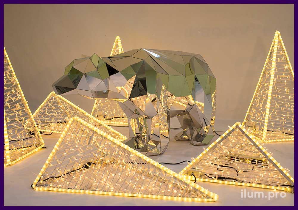 Декоративная фигура зеркального медведя из металла