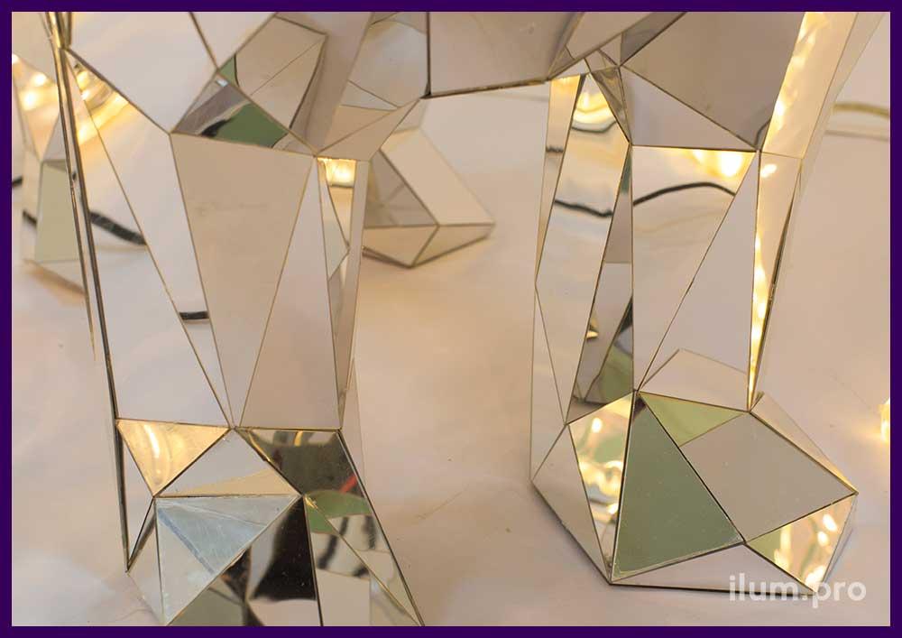 Покрытие полигональных фигур зеркальным пластиком