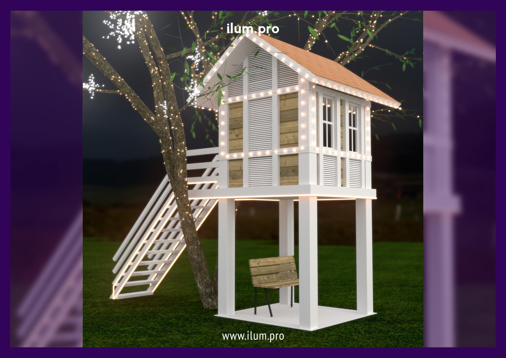 Проект подсветки крыши и фасада домика на дереве гирляндами белтлайт