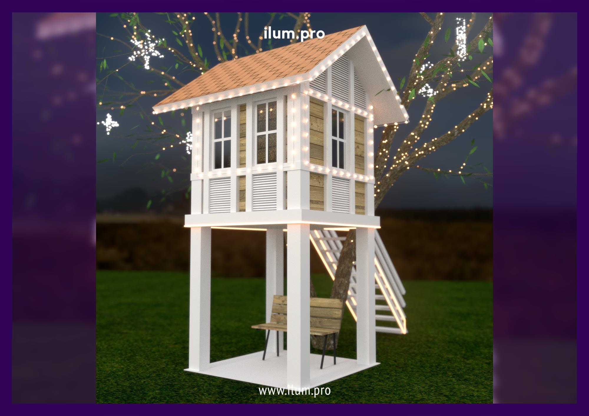 Проект подсветки детского домика на дереве гирляндами