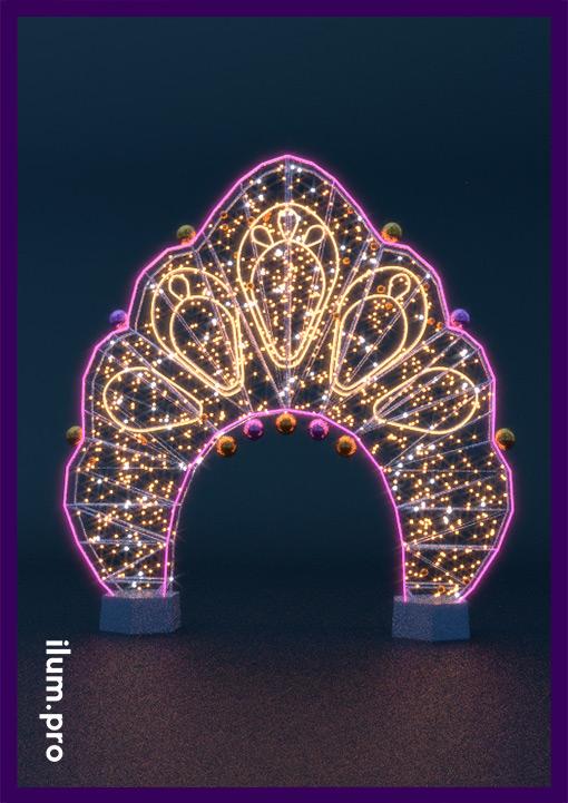 Световая арка кокошник в русском стиле для украшения площади