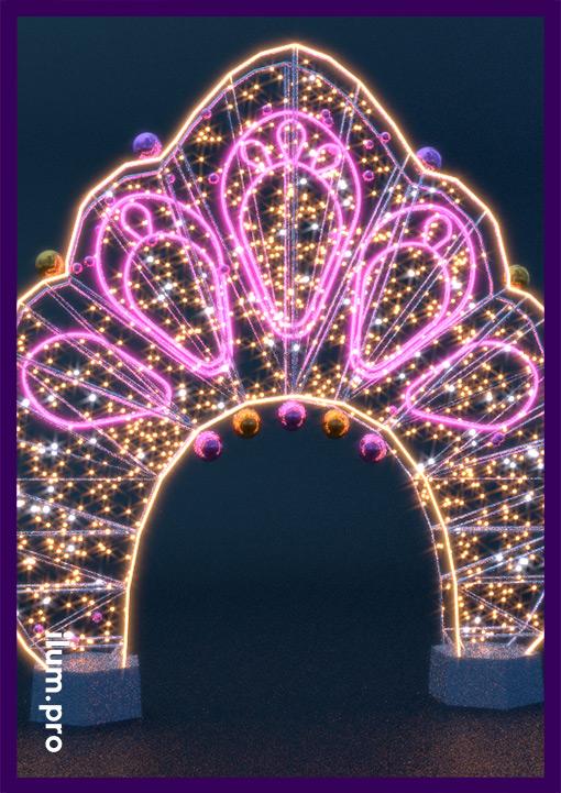 Арка световая с игрушками для украшения улицы на Новый год