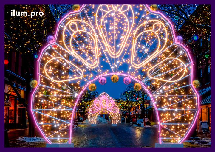 Новогодние уличные арки с гирляндами и гибким неоном
