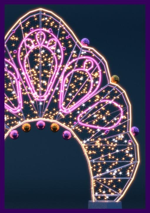 Светодиодная арка с ёлочными игрушками на Новый год