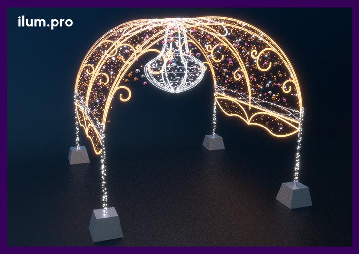 Тоннель из светодиодных арок для украшения города на праздники