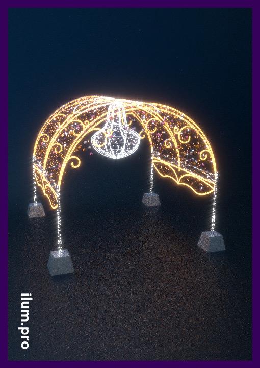 Светодиодная арка в форме шатра с большой люстрой из гирлянд