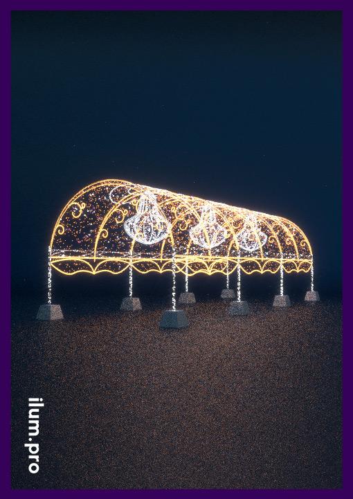 Световой тоннель праздничный с люстрами и гирляндами