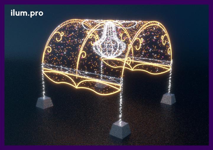 Шатёр из светодиодных гирлянд и декора