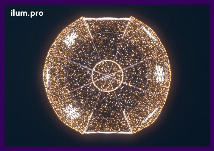 Вид сверху на гигантский светодиодный шар в форме ёлочной игрушки